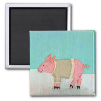 Cute pig art winter snow scene warm sweater 2 inch square magnet