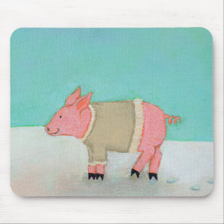 Cute pig art winter snow scene warm sweater mouse pad