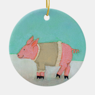 Cute pig art winter snow scene warm sweater Double-Sided ceramic round christmas ornament