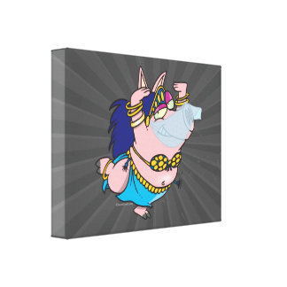 cute pig belly dancer cartoon character gallery wrap canvas