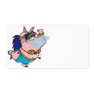 cute pig belly dancer cartoon character shipping label