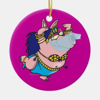 cute pig belly dancer cartoon character ornament