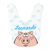 Cute Pig Bib with Baby's name, Custom Color hearts
