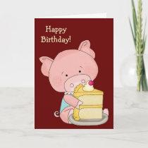 Cute Pig Birthday Card
