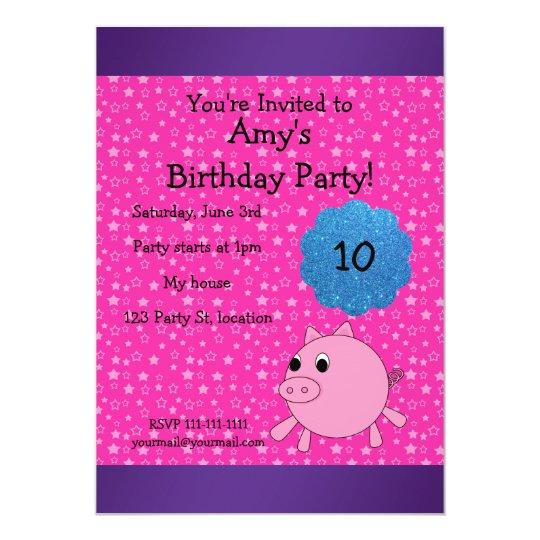 Cute pig birthday invitation