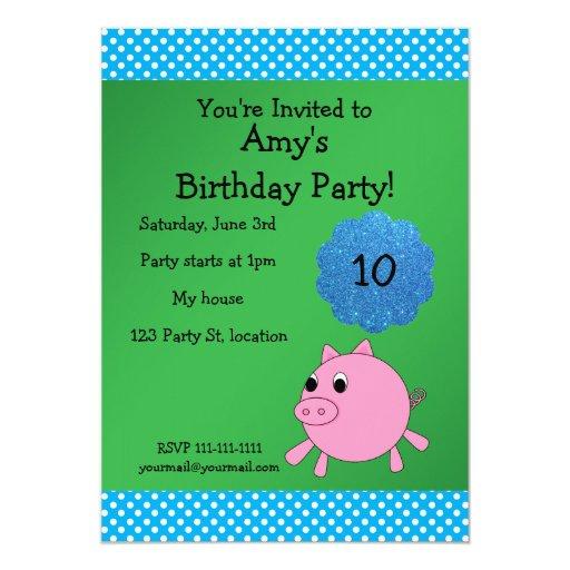 "Cute pig birthday invitation 5"" x 7"" invitation card"