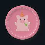 "Cute Pig Birthday Party Paper Plate<br><div class=""desc"">These adorable birthday party collection features adorable animal characters (cat,  mouse,  dog,  bear,  rabbit,  pig) perfect for your child&#39;s birthday party. Matching products and designs available at our store.</div>"