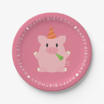 Cute Pig Birthday Party Paper Plate