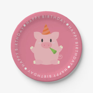 Cute Pig Birthday Party Paper Plate at Zazzle
