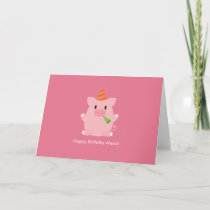 Cute Pig Birthday Thank You Card