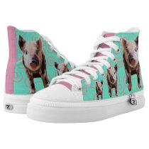 Cute Pig - Blue & Pink Swirls High-Top Sneakers