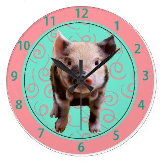 Cute Pig - Blue & Pink Swirls Large Clock