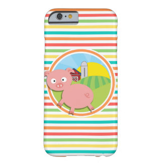 Cute Pig; Bright Rainbow Stripes Barely There iPhone 6 Case