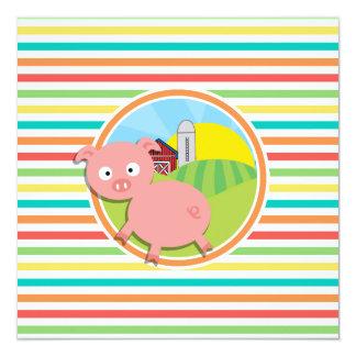 Cute Pig; Bright Rainbow Stripes Invitation