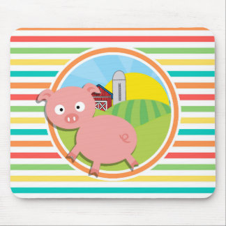 Cute Pig; Bright Rainbow Stripes Mouse Pad