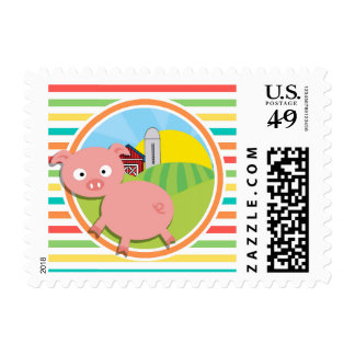 Cute Pig; Bright Rainbow Stripes Stamps