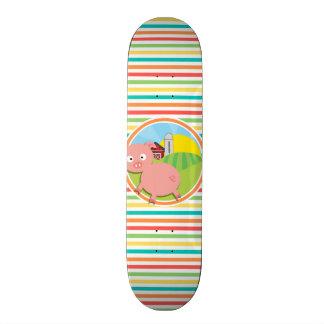 Cute Pig; Bright Rainbow Stripes Skateboard Deck