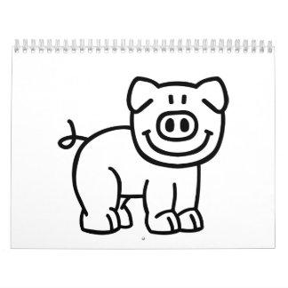 Cute pig calendar
