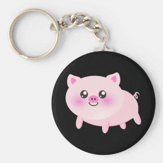 Cute pig cartoon basic round button keychain