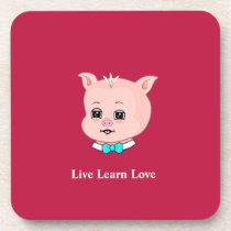 Cute Pig Cartoon Beverage Coaster