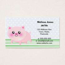 Cute pig cartoon business card