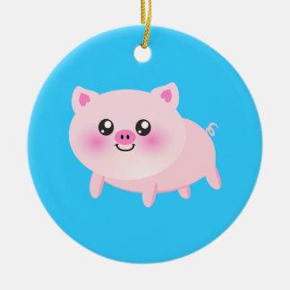 Cute pig cartoon Double-Sided ceramic round christmas ornament