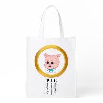 Cute Pig Cartoon Grocery Bag