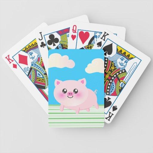 Cute pig cartoon poker deck