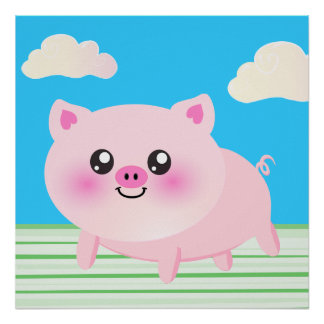 Cute pig cartoon poster