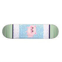 Cute pig cartoon skateboard deck