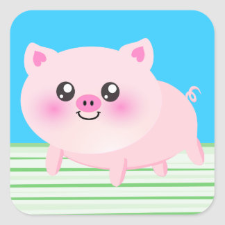 Cute pig cartoon square sticker