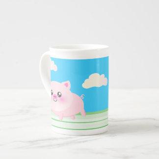 Cute pig cartoon tea cup