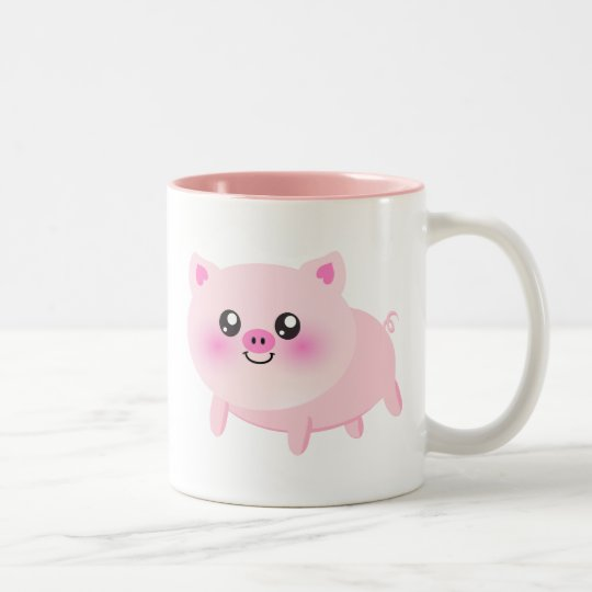 Cute pig cartoon Two-Tone coffee mug