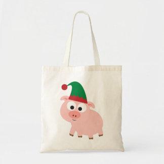 Cute Pig Christmas Elf Budget Tote Bag