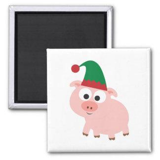Cute Pig Christmas Elf Magnet