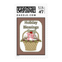 Cute Pig Christmas Holiday Baskets Postage