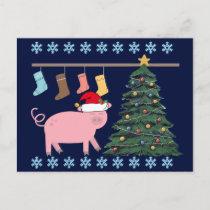 Cute Pig Christmas Postcard