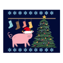 Cute Pig Christmas Postcard