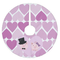 Cute Pig Couple Brushed Polyester Tree Skirt