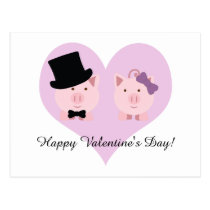 Cute Pig Couple Happy Valentine's Day Postcard