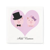 Cute Pig Couple Napkin