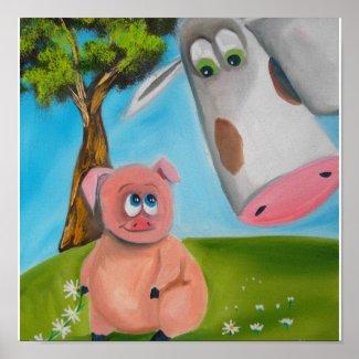 cute pig cow daisy chain poster