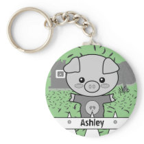 Cute Pig Custom Name & Initial Keychain