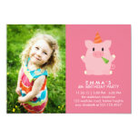 Cute Pig Custom Photo Birthday Party Card
