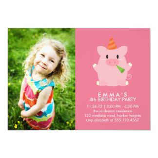 Cute Pig Custom Photo Birthday Party Card