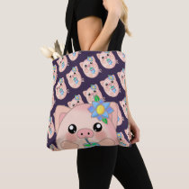 Cute Pig Drink Summer Fun Adorable Tote Bag