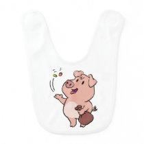 Cute pig eating sweets baby bib