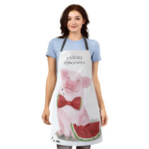 Cute Pig Eating Watermelon Monogrammed Apron