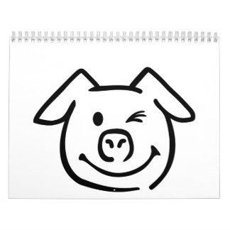 Cute pig face calendar