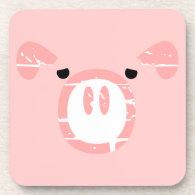 Cute Pig Face illusion. Beverage Coaster